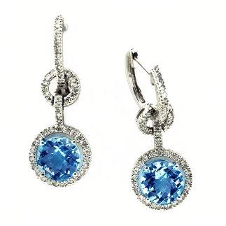 14K White Gold Diamond and Blue Topaz Earrings