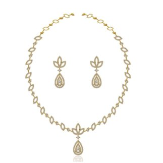 14K Yellow Gold Natural 2.908 ct. Diamond Necklace/ 1.128 ct.Earring Set