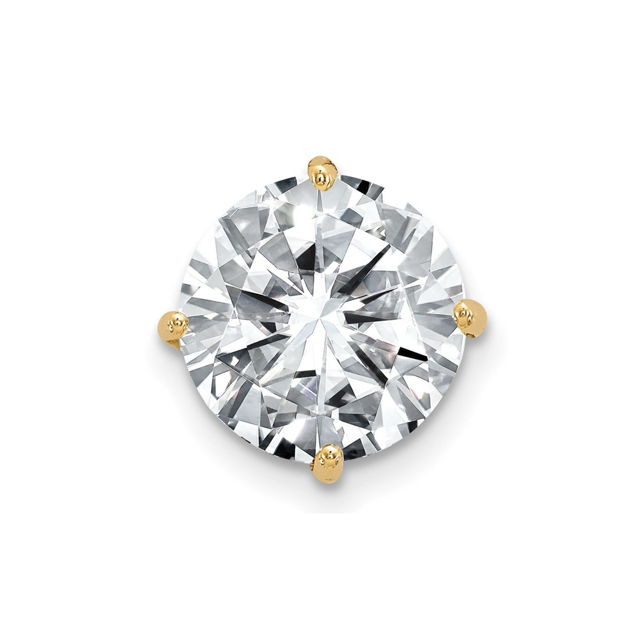 14ky 1.00ct. 6.5mm Round Moissanite Solitaire Chain Slide Pendant