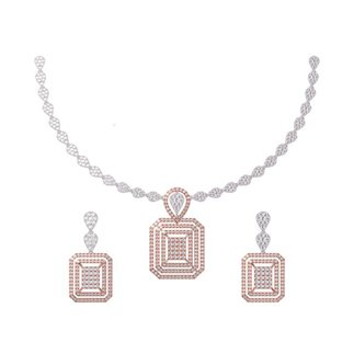 14K Gold Diamond 5.080 ct. Necklace and 3.252 ct. Earrings Set