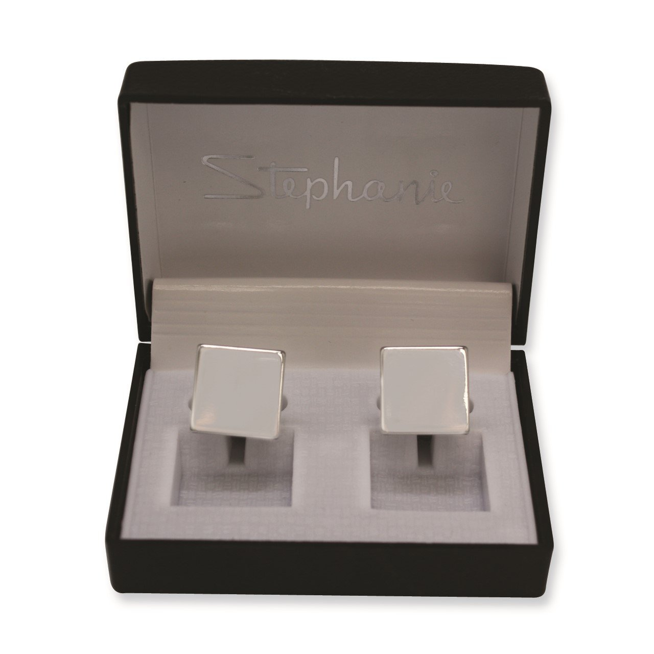Silver-tone Polished Square Cuff Links
