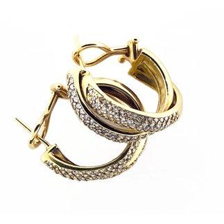 14K Yellow Gold Natural Diamond Hoop Earrings