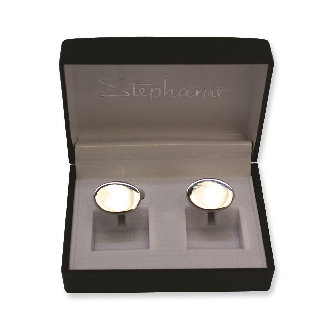 Silver-tone Polished Oval Cuff Links