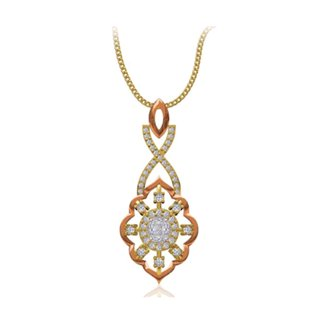 14k Two Tone Gold 0.348 Ct. Diamond Pendant