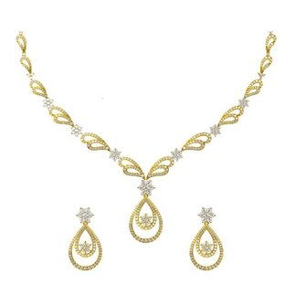 14k Yellow Gold 4.990 ct. Diamond Necklace /2.719 ct. Earrings Set