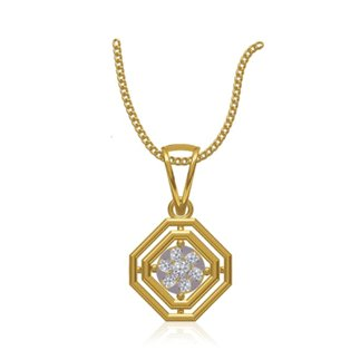14k Yellow Gold 0.195 Ct. Diamond Octagonal Shape Pendant