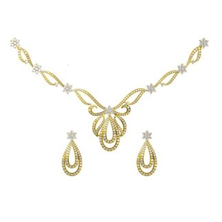 14k Yellow Gold 4.951 ct. Diamond Necklace /2.2 ct. Earrings Set