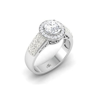 14K White Gold Natural Diamond Ring (Center Stone Not Included)