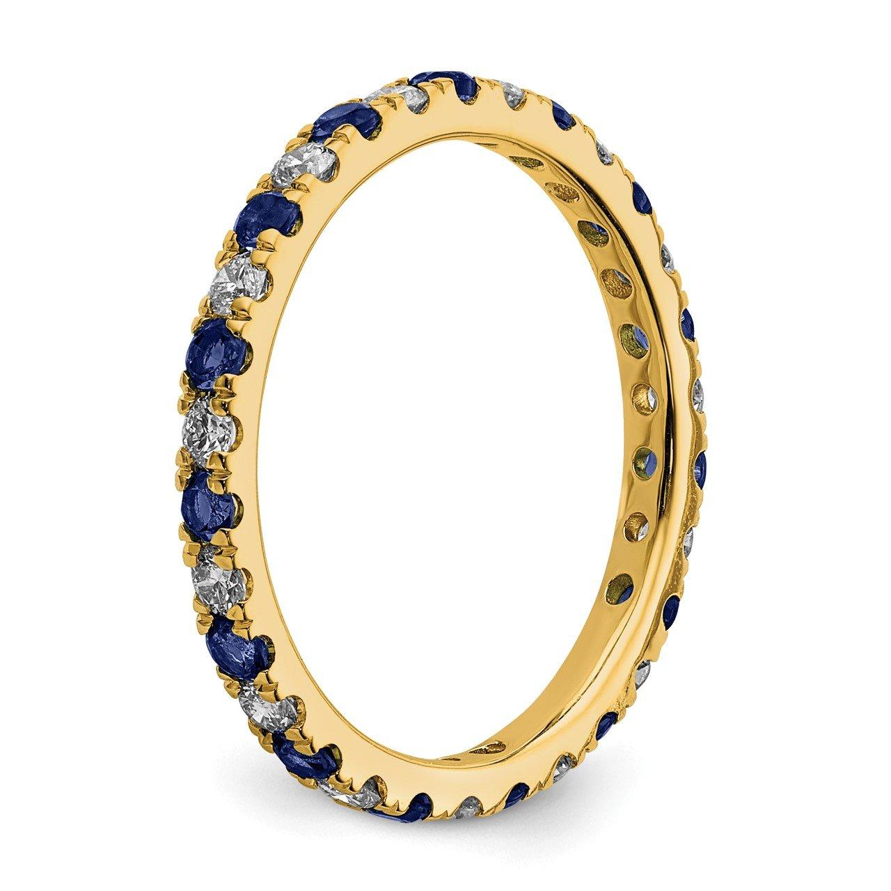 14k Lab Grown Diamond SI1/SI2 G H I and Created Blue Sapphire Eternity Band-4