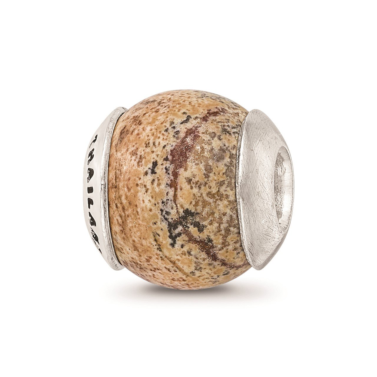 Sterling Silver Reflections Picture Jasper Stone Bead