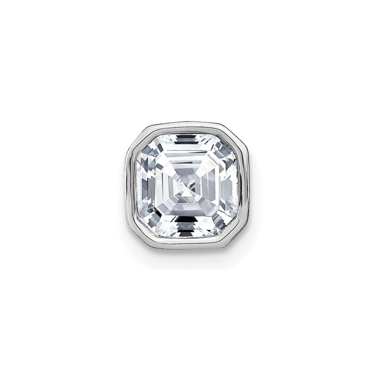 14k White Gold Asscher Bezel Chain Slide D E F Pure Light Moissanite