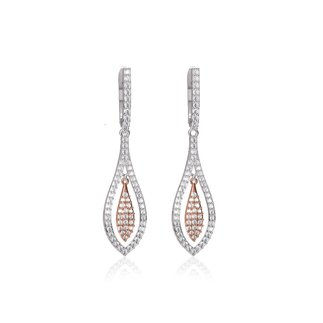 14K Two Tone Gold Natural 1.32 Ct. Diamond Dangle Earrings