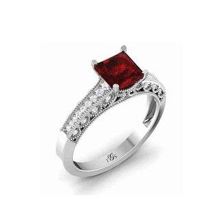 14K White Gold Red Stone/ Natural Diamonds Ring