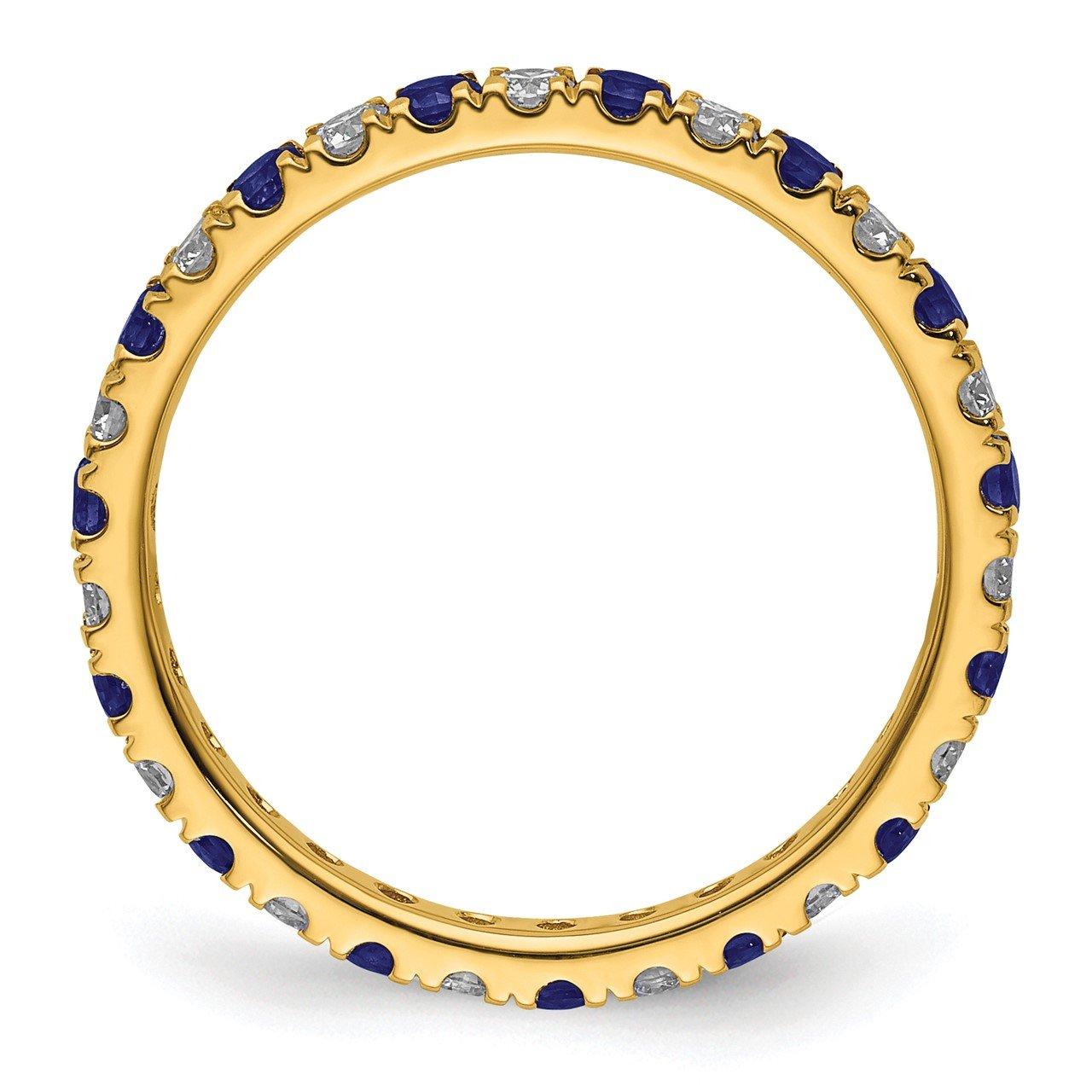 14k Lab Grown Diamond SI1/SI2 G H I and Created Blue Sapphire Eternity Band-1