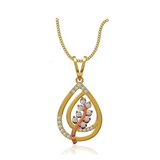 14k Yellow Gold 0.366 ct. Diamond Leaf Shape Pendant