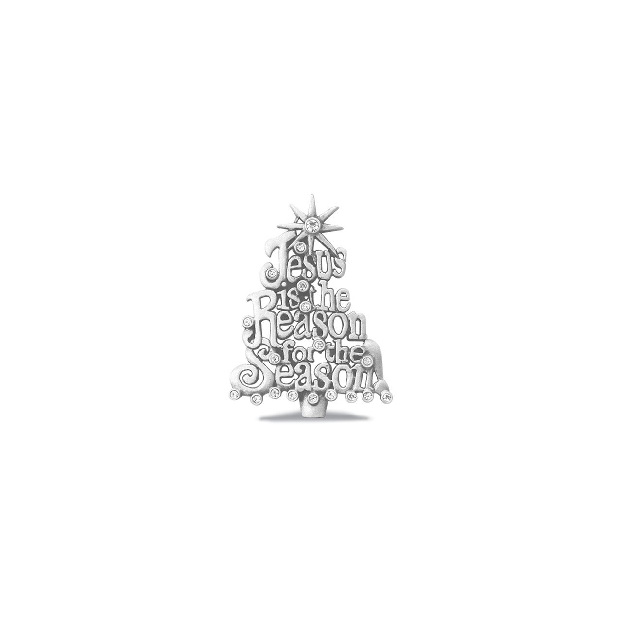 Crystal Jesus Is The Reason Pave Pewter Pin Gift Boxed