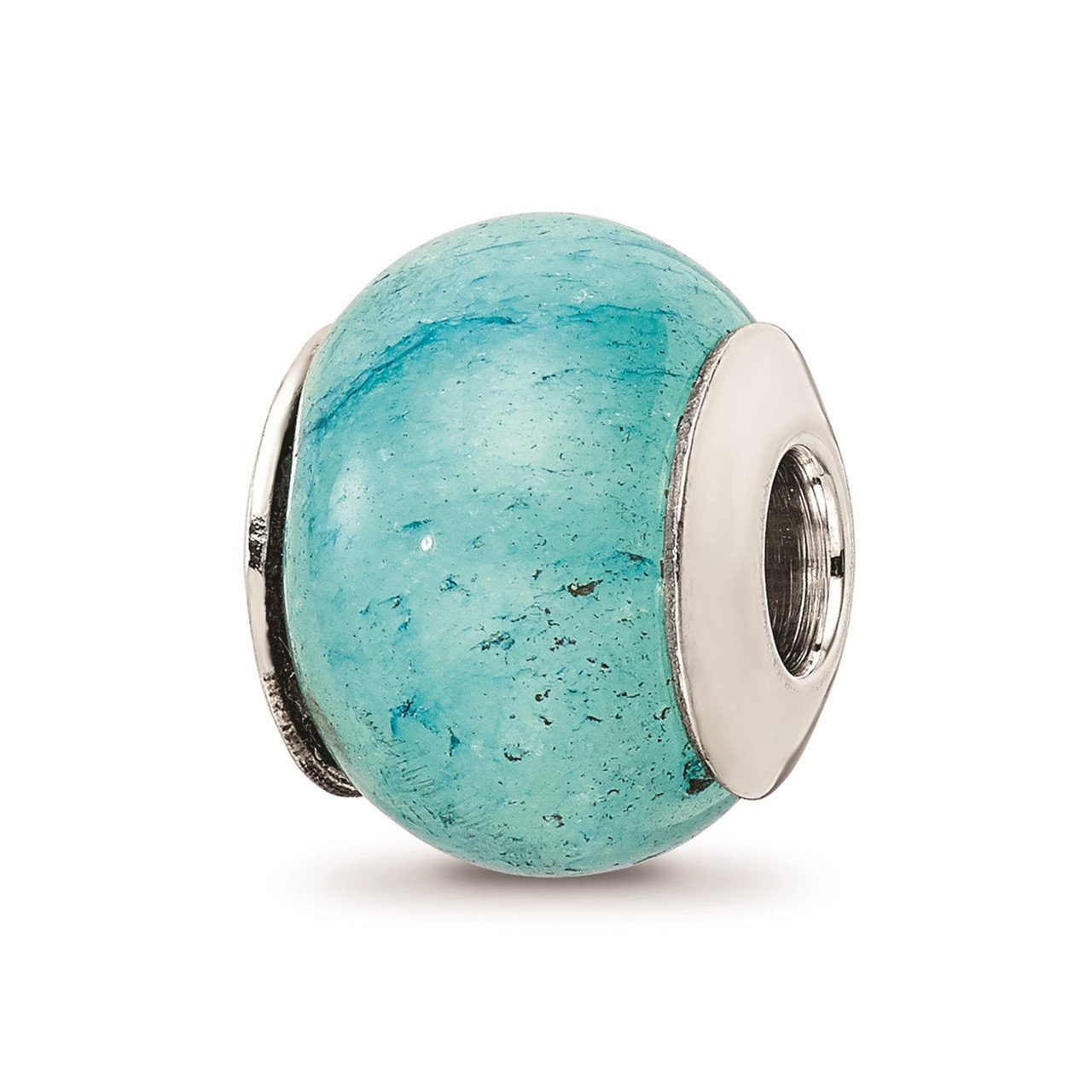 Sterling Silver Reflections Light Blue Quartz Stone Bead