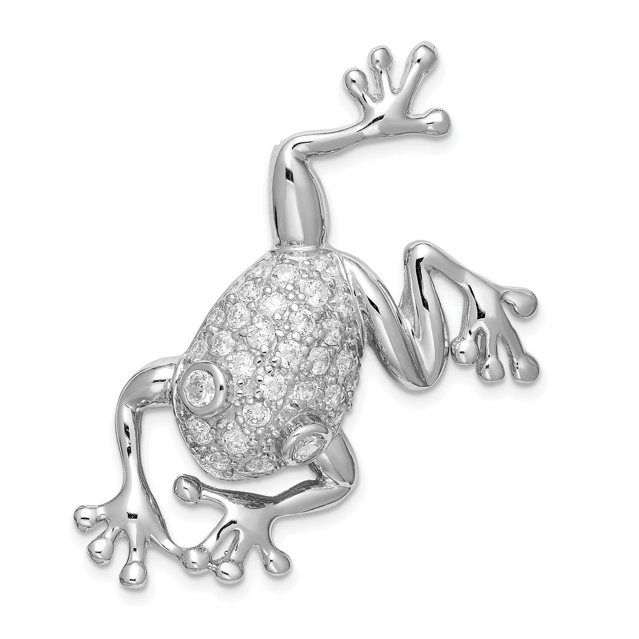 Sterling Silver Rhodium-plated CZ Frog Pin