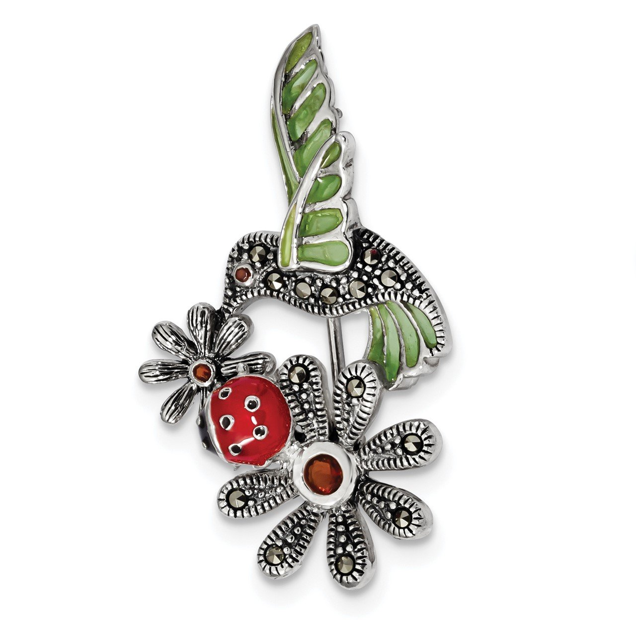 Sterling Silver Antiqued Epoxy/Marcasite/Red Glass Ladybug Flower Pin