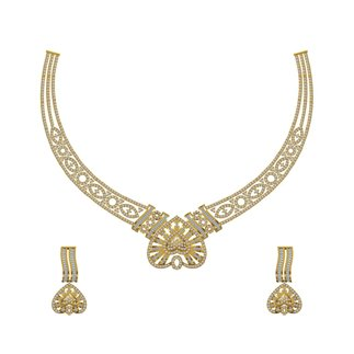 14K Yellow Gold 0.993 Ct. Diamond Necklace/ Earring 0.422 ct. Set