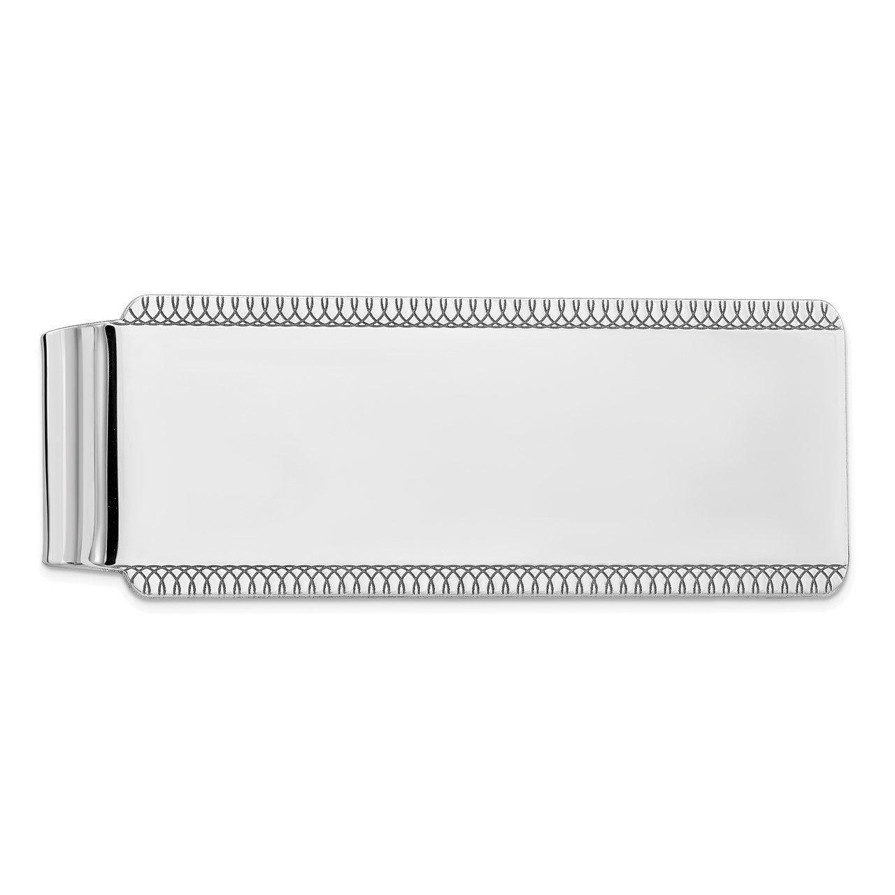 Sterling Silver Rhodium-plated Satin Front Satin Back Money Clip