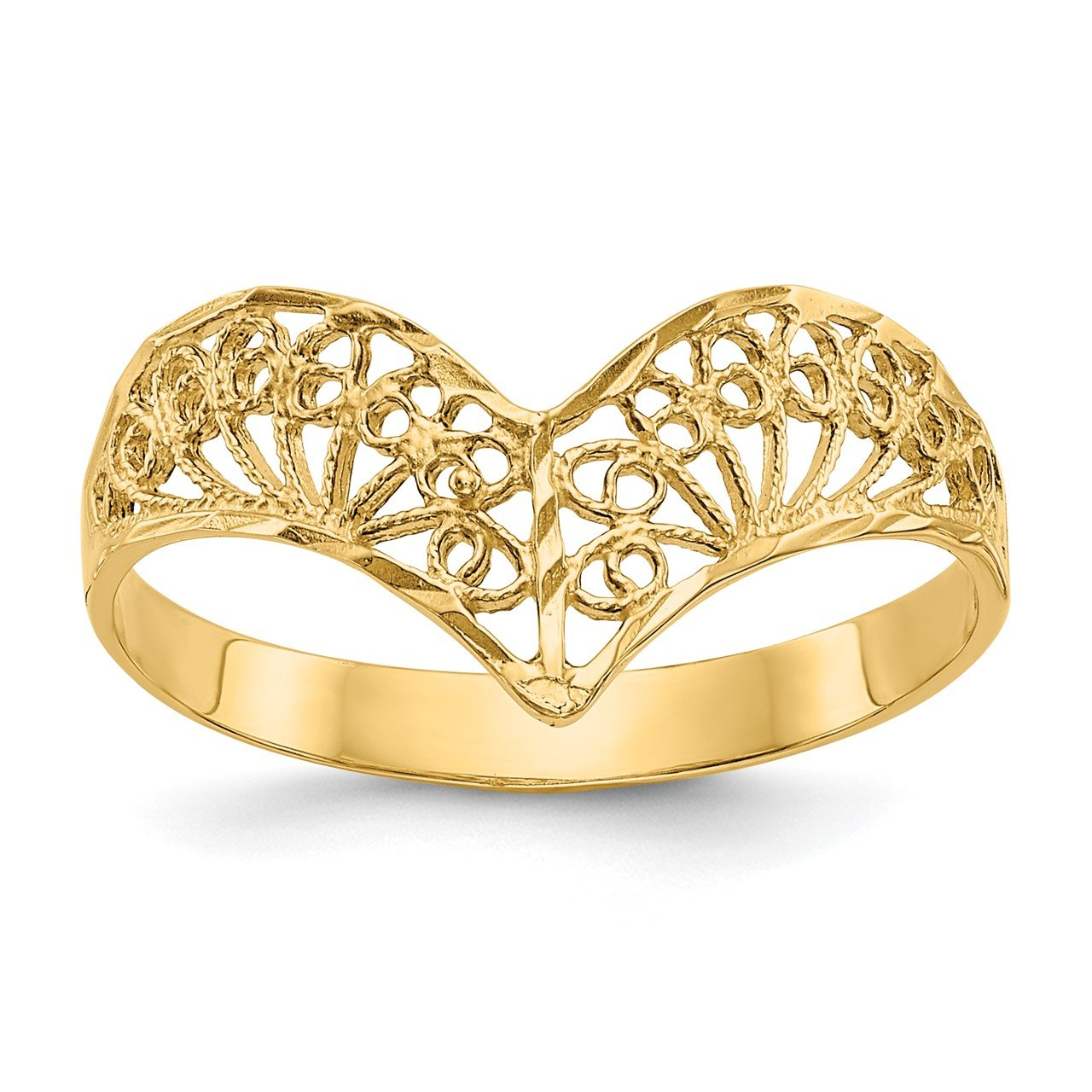 14k Diamond-Cut Filigree Ring