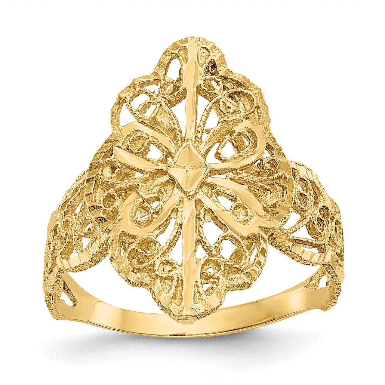 14K Diamond Cut Filigree Ring