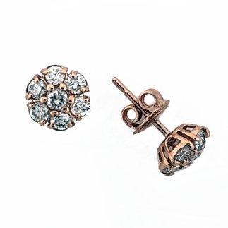 14K Rose Gold Natural 1.15 ct. Diamond Stud Earrings