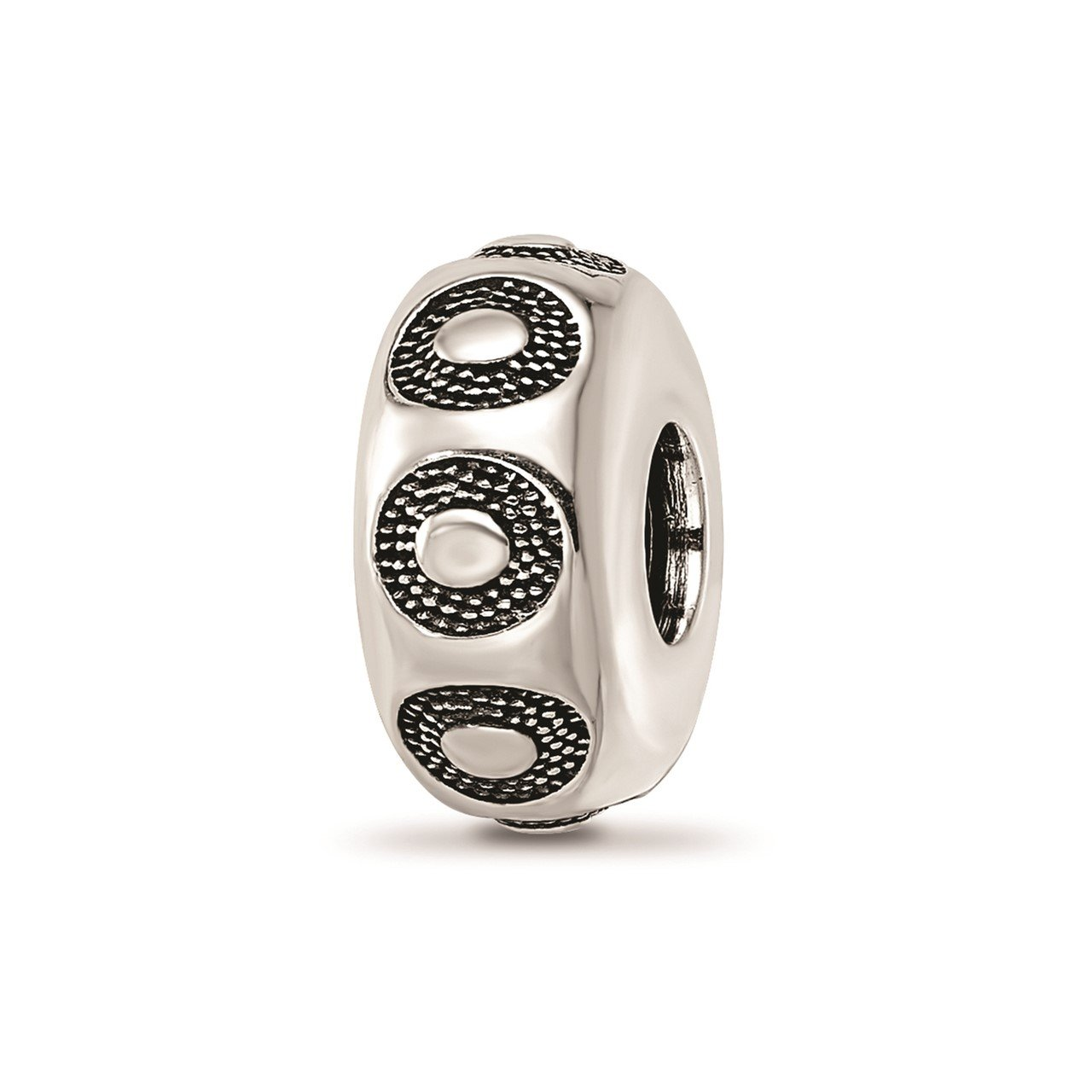 Sterling Silver Reflections Antiqued Circle Pattern Bead
