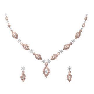 14K Rose Gold 2.945 ct. Diamond Necklace/ 0.730 ct. Earrings Set
