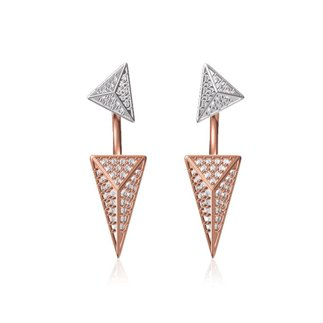 14K White/Rose Gold Natural 0.84 ct. Diamond Triangle Dangling Earrings