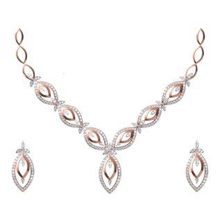 14K Gold Diamond Necklace / Earrings Set