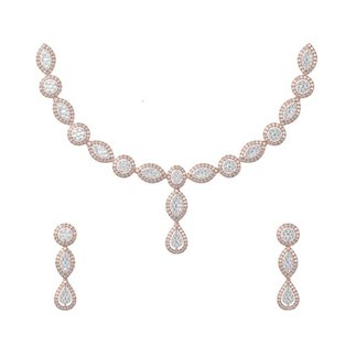 14K Yellow Gold 9.824 Ct. Diamond Necklace/ 4.928 Ct. Earrings Set