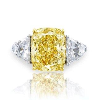 18K White Gold Fancy Yellow Natural Diamond Engagement Ring