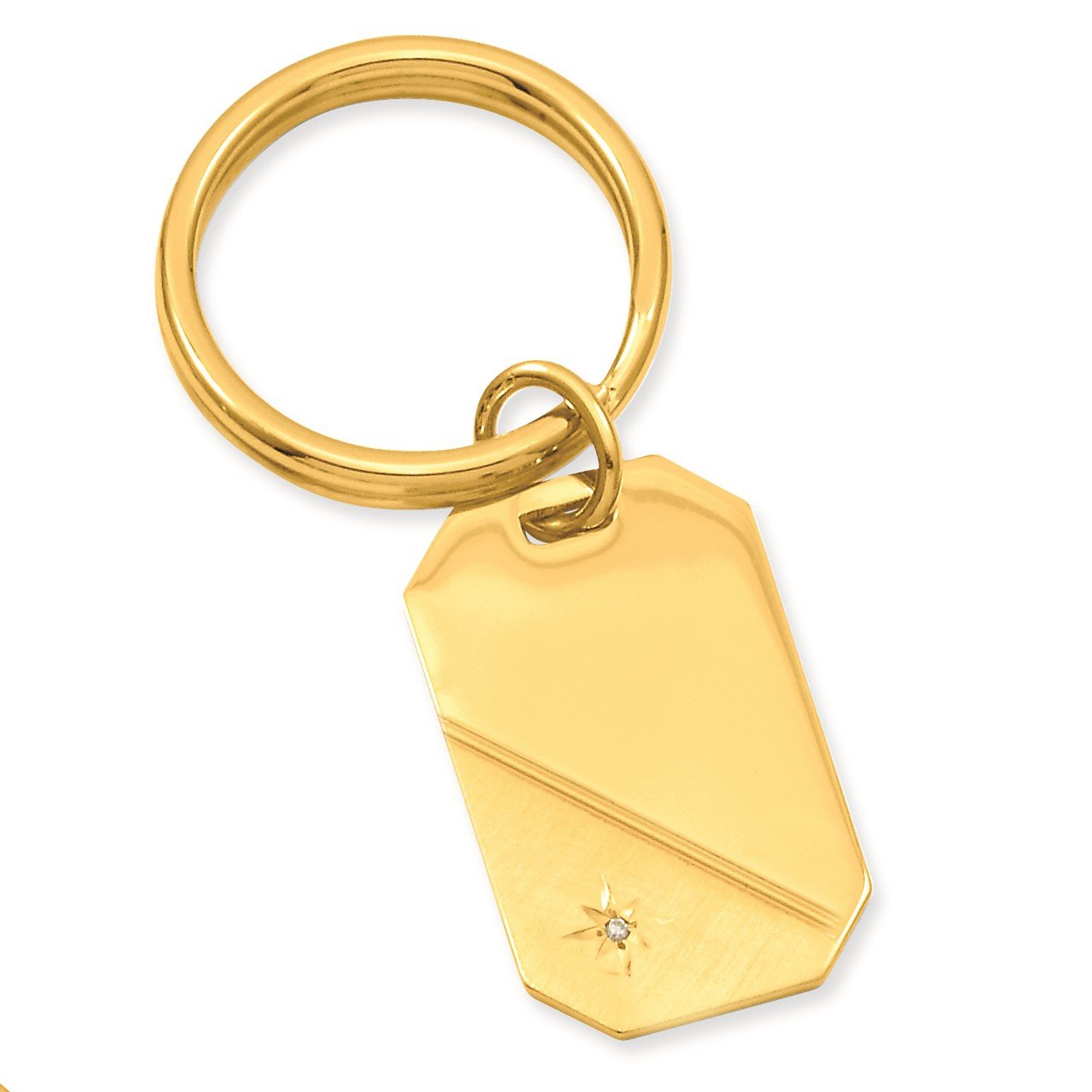 Gold-plated Kelly Waters Star Cut .001ct. Diamond Key Ring