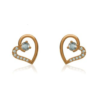 14K Yellow Gold  Diamond Heart Shape Earrings Gift for Valentin's Day Girls Girlfriends Women