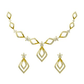 14K Yellow Gold 5.156 ct. Diamond Necklace/2.412 ct. Earrings Set