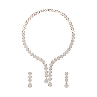14k Yellow Gold 5.920 Ct. Diamond Necklace/ 1.690 Ct. Earrings Set