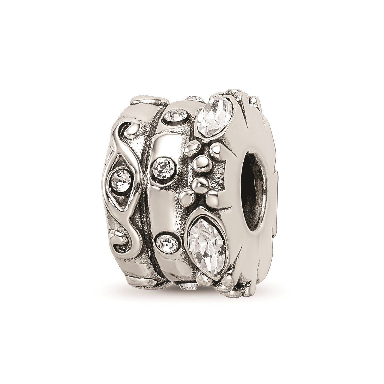 Sterling Silver Reflections Swarovski Crystal Fancy Bali Bead