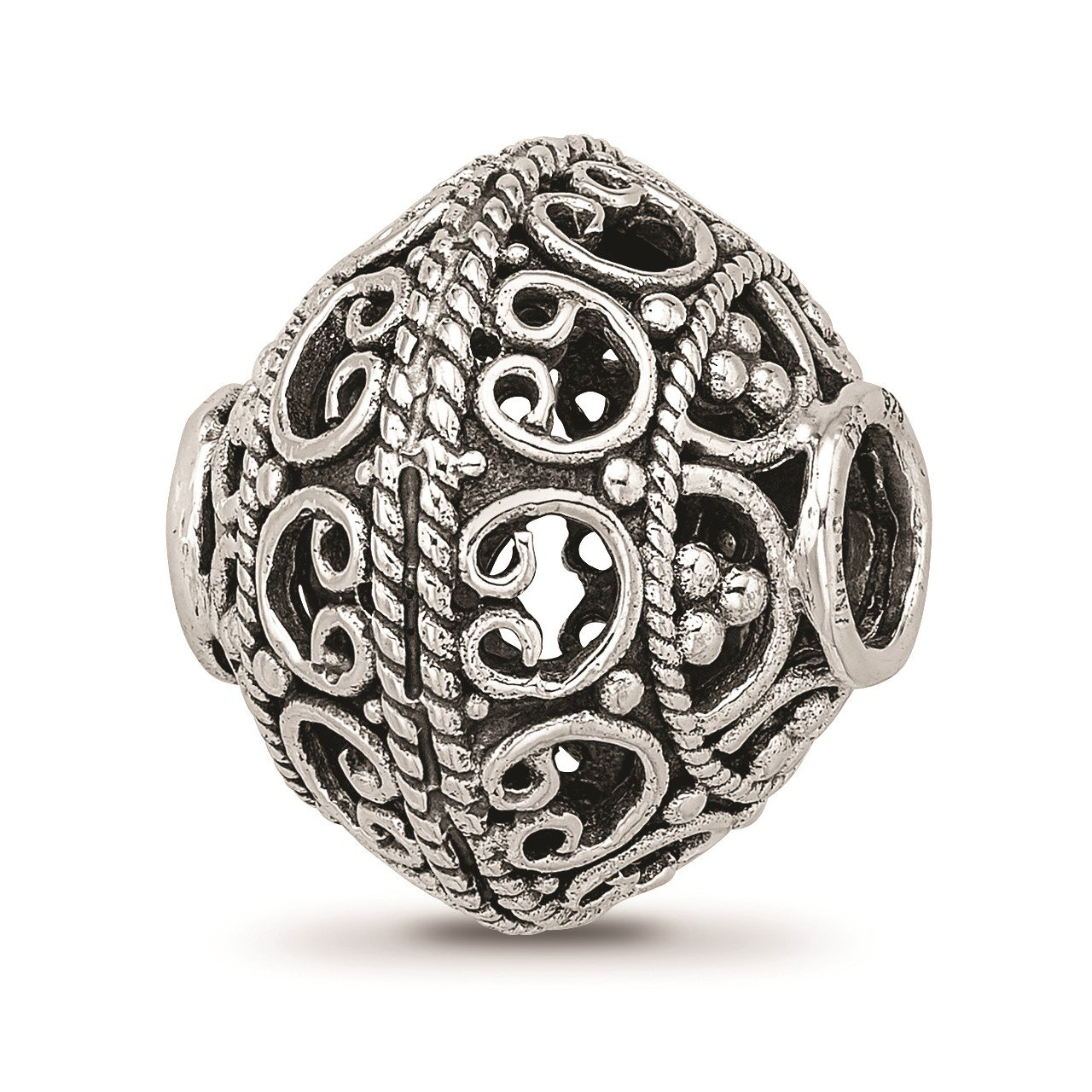 Sterling Silver Reflections Antiqued and Polished Cut-out Bali Bead