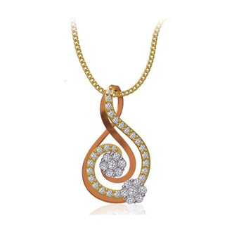 14k Two Tone Gold 0.46 ct. Diamond Pendant