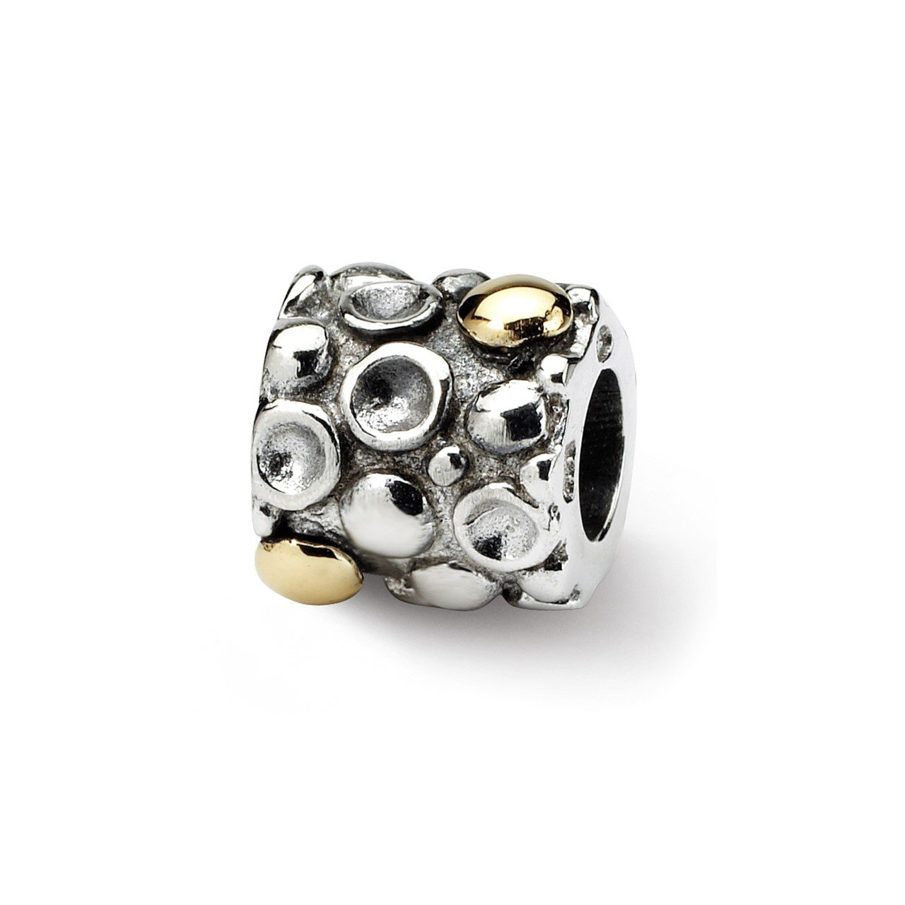 Sterling Silver and 14k Reflections Dots Bali Bead