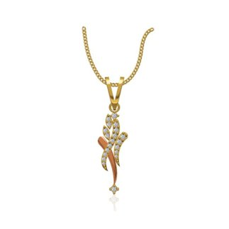 14k Two Tone Gold 0.181 Ct. Diamond Pendant Necklace Length 21 mm Width 7.5 mm Gift for Women Girls