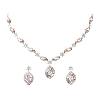 14K White and Rose Gold 2.927 ct. Diamond Necklace /1.578 ct. Earrings Set