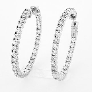 14K White Gold 3.15 Ct. Diamond Hoop Earrings