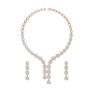 14K Yellow Gold 5.741 Ct. Diamond Necklace/ 1.965 Ct. Earrings Set
