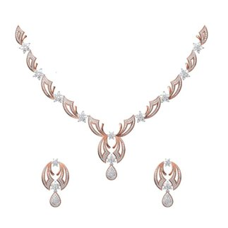 14K Rose and White Gold 5.448 ct Diamond Necklace/1.519 ct Earrings Set # 20