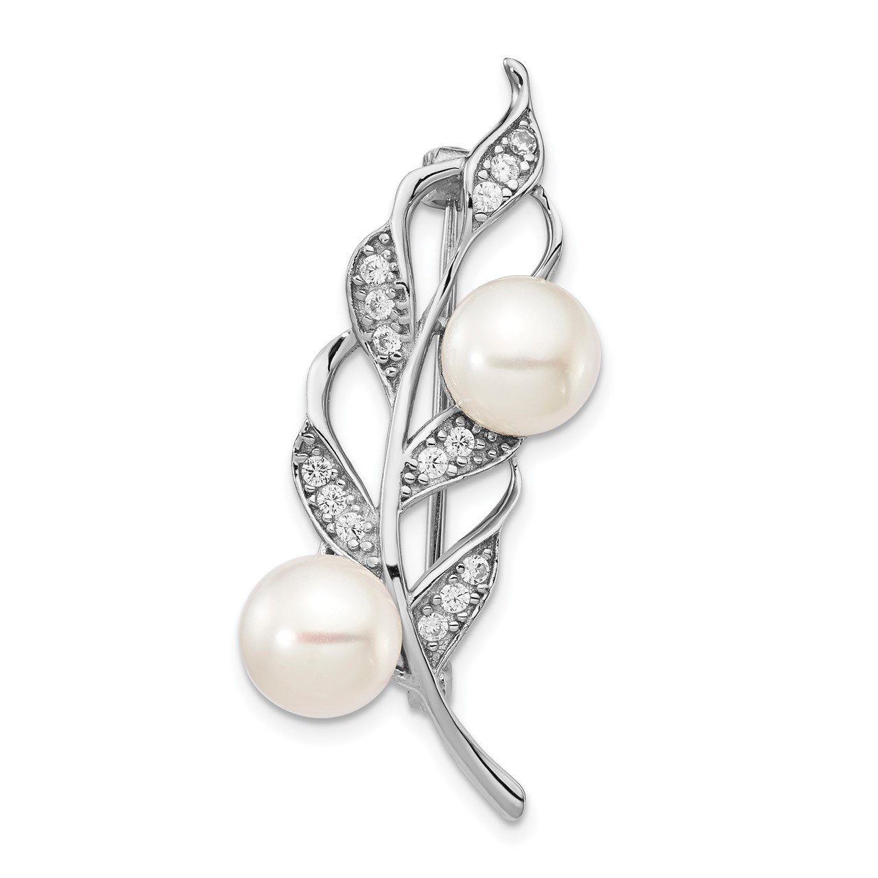 Sterling Silver Rhod-plat 7-8mm White Button FWC Pearl CZ Brooch