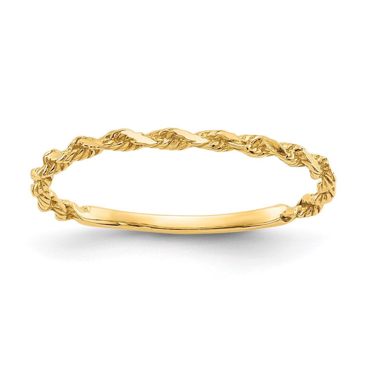 14K Diamond-cut Textured Rope Band Ring