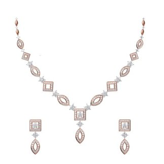 14K White/Rose Gold 6.341 Ct Diamond Necklace / 2.650 Ct Diamond Earrings Set